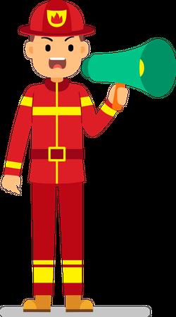 Fire rescue member making announcement using megaphone Illustration