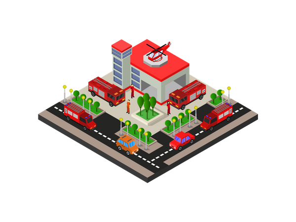 Fire Station Illustration