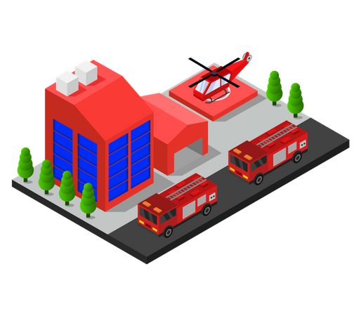 Fire station building Illustration