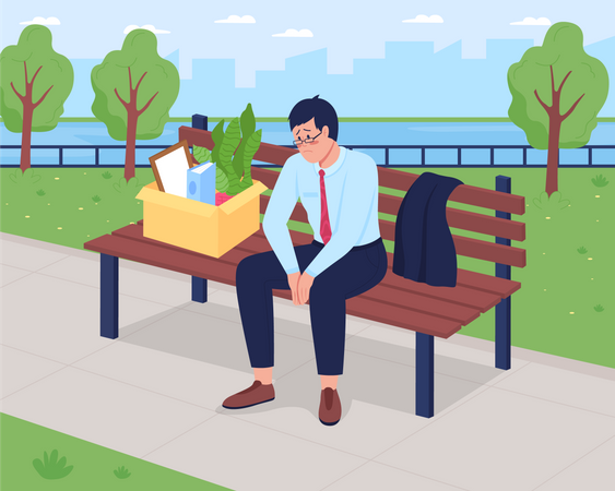 Fired depressed man Illustration