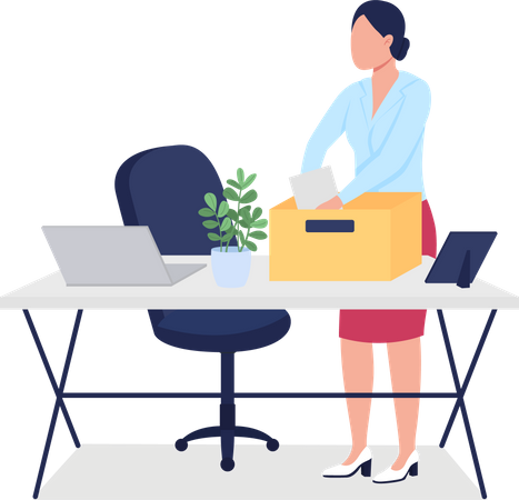 Fired woman collecting stuff Illustration