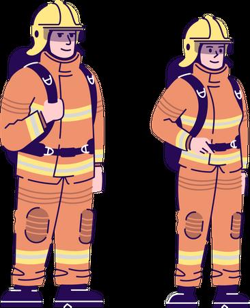 Firefighters couple Illustration
