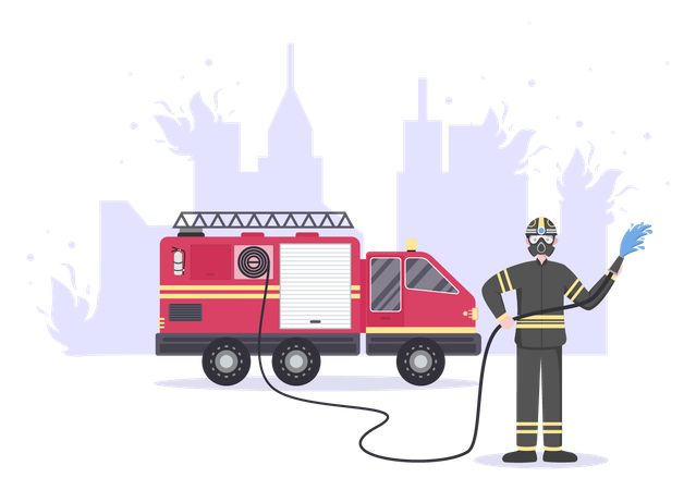 Firefighters dealing fire with Fire engine Illustration