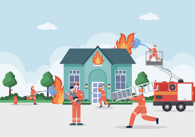 Firefighters Helping People Illustration