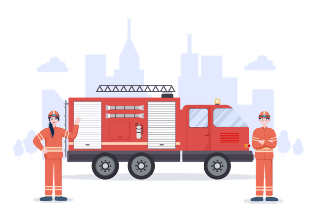 Firefighters with Fire engine Illustration