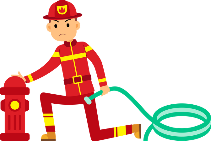 Fireman fitting pipe in water pump Illustration