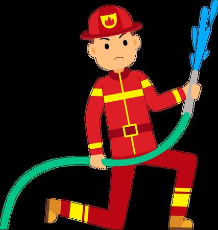 Fireman holding water pipe Illustration