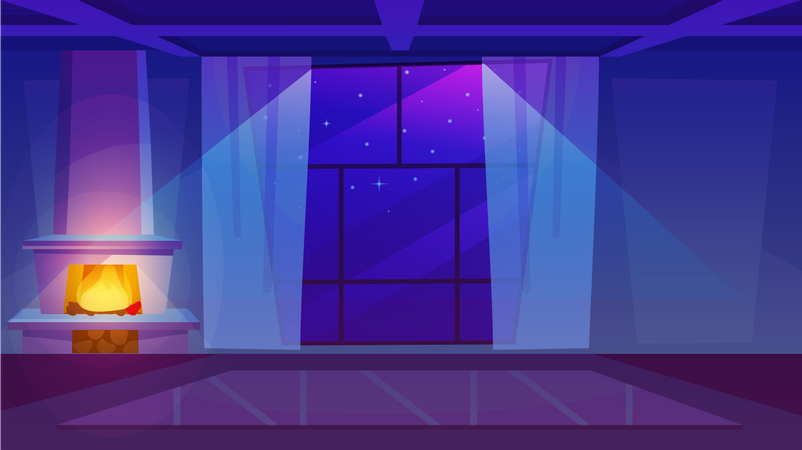 Fireplace in empty room Illustration
