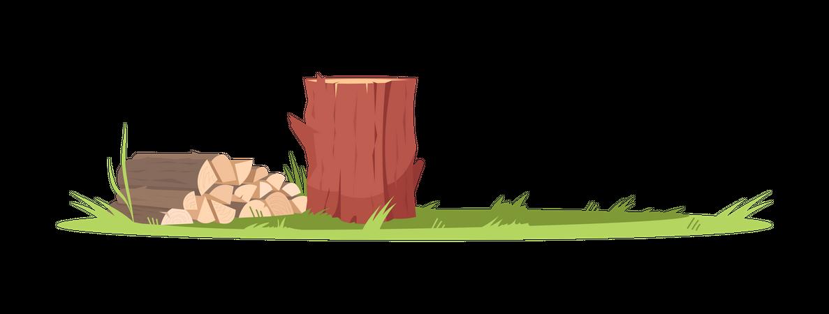 Firewood Stacked Illustration