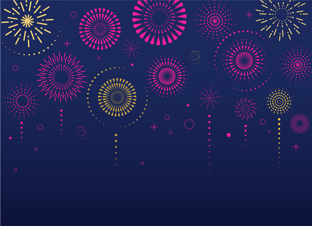 Fireworks and celebration background Illustration