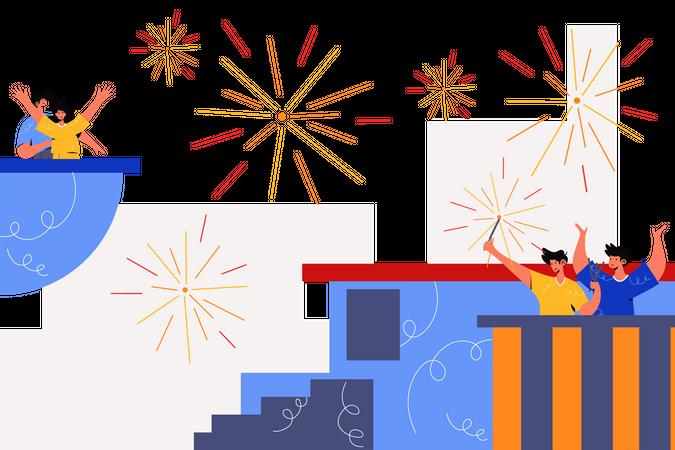 Fireworks Festival Illustration