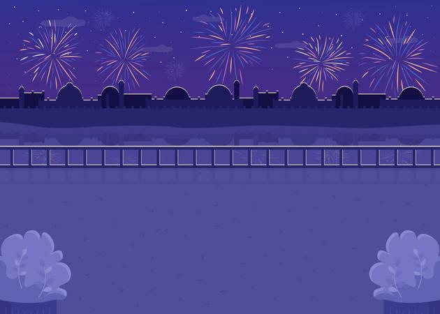 Fireworks scene Illustration