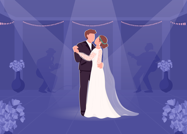 First bride and groom dance Illustration