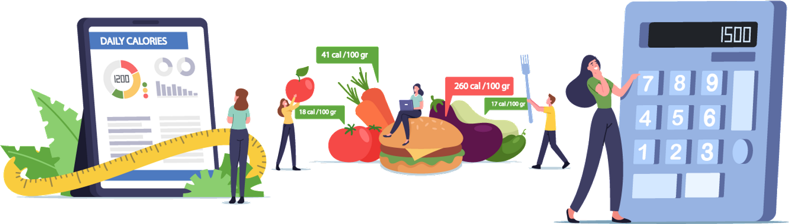 Fitness and diet mobile application Illustration