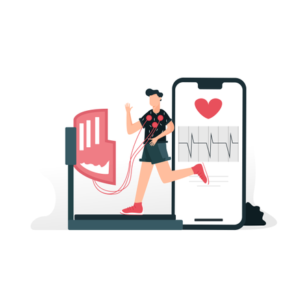Fitness and heartbeat tracking with smart gadget while man doing exercising on treadmill Illustration