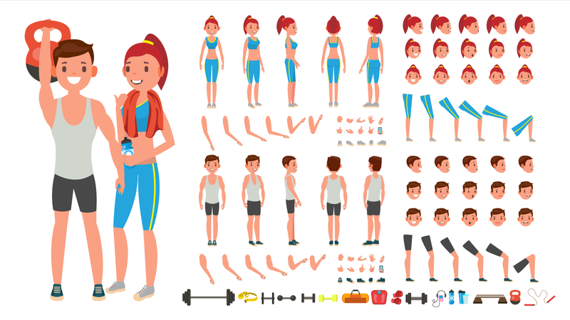 Fitness Girl, Man Vector. Animated Sport Male, Female Character Creation Set. Full Length, Front, Side, Back View, Accessories, Poses, Face Emotions, Gestures. Isolated Flat Cartoon Illustration Illustration