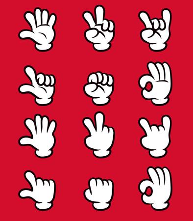 Five Finger White Glove Cartoon Hand Illustration