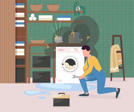 Fixing broken washing machine Illustration