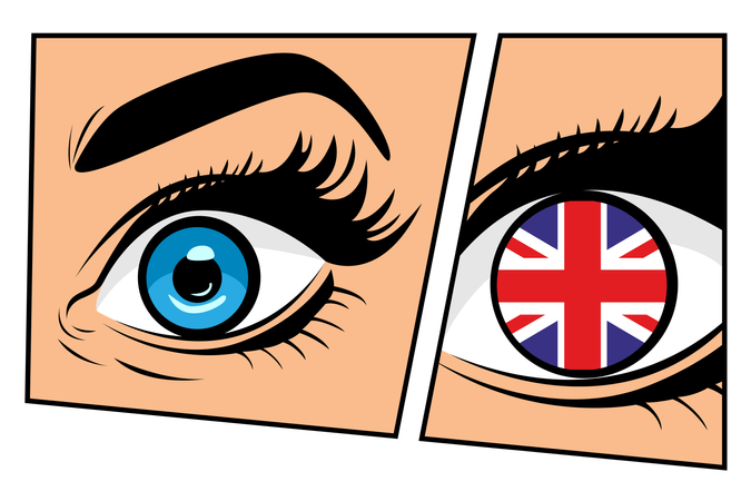 Flag of the Great Britain in beautiful male or female eye comic storyboard pop art retro style. Sexy surprised woman with open mouth. Colorful vector background in pop art retro comic style. Illustration