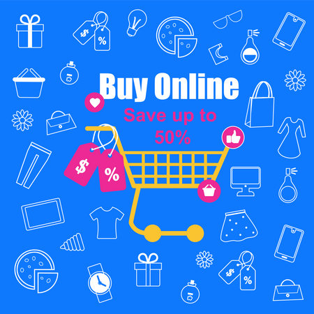 Flash sale on online shopping Illustration