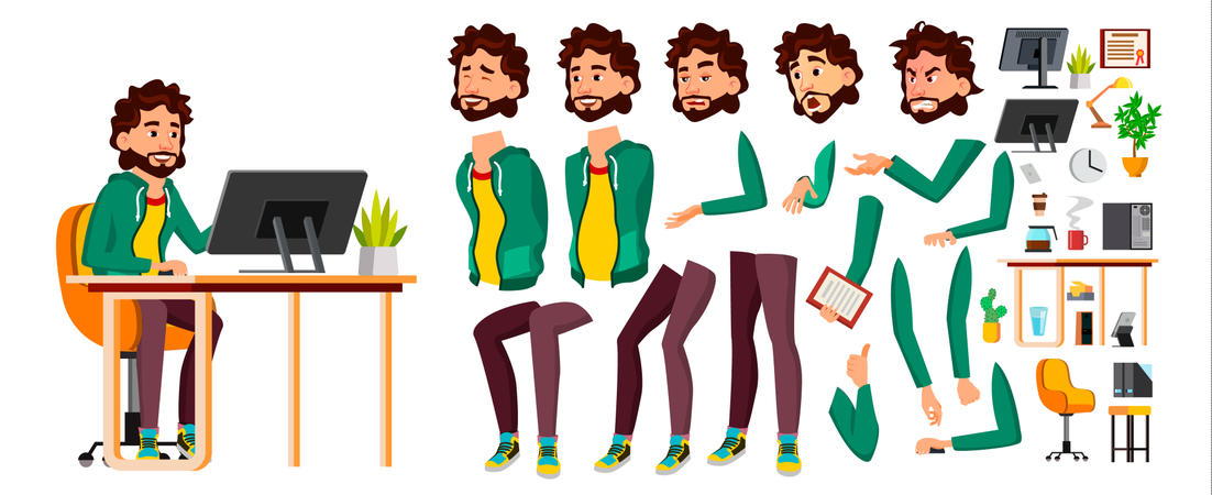 Flat Cartoon Character Illustration Illustration