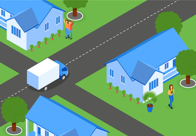 Flat City Streets with New Houses Illustration