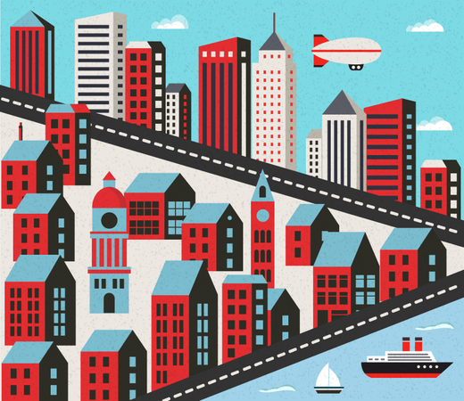 Flat City With Houses Illustration