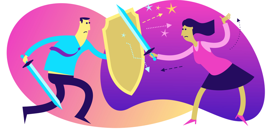 Flat Design Illustration: A Man Fights with a Woman Illustration