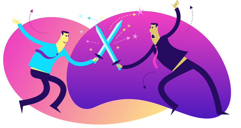 Flat Design Illustration: Duel, Struggle, Competition Illustration