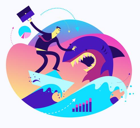 Flat Design Illustration For Presentation, Web, Landing Page: A Man At Sea Boldly Defeats A Shark Business Illustration