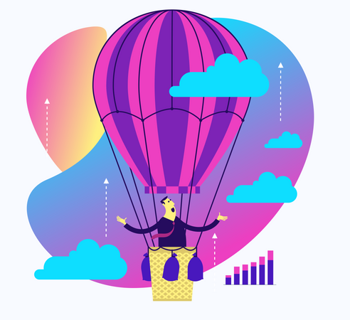 Flat Design Illustration For Presentation, Web, Landing Page: A Man Flies On A Balloon In The Sky To His Dreams Illustration