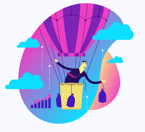 Flat Design Illustration For Presentation, Web, Landing Page: A Man In A Balloon Drops Ballast And Flies Up To Success Illustration