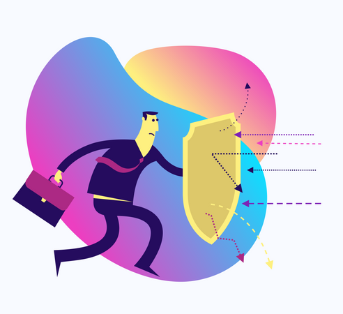 Flat Design Illustration For Presentation, Web, Landing Page: A Man With A Shield Protects From Attack Illustration