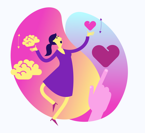 Flat Design Illustration For Presentation, Web, Landing Page: A Woman Balances And Chooses Mind Or Heart, Calculation Or Emotions Illustration
