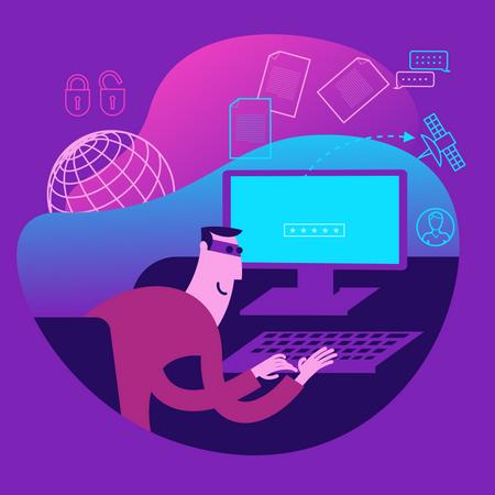 Flat Design Illustration For Presentation, Web, Landing Page: Hacker Steals Data From Computer Illustration