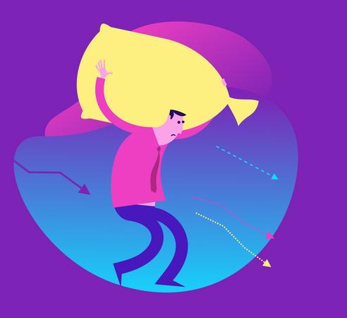 Flat Design Illustration For Presentation, Web, Landing Page: Man Carries A Heavy Bag, Burden. Illustration