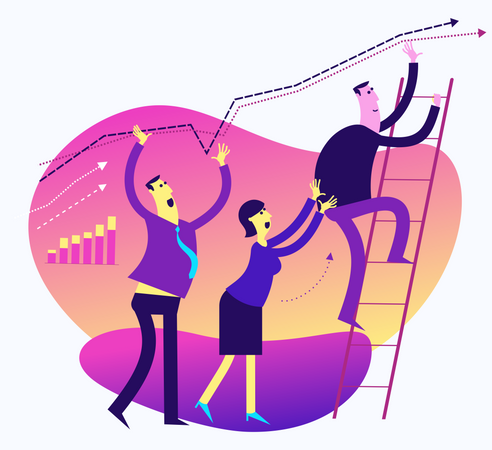 Flat Design Illustration For Presentation, Web, Landing Page: Men And Woman Work Together To Improve Results And Increase Performance Illustration
