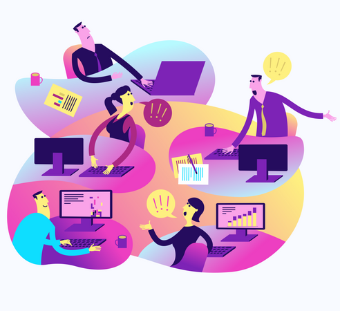 Flat Design Illustration For Presentation, Web, Landing Page: Office Life, Employees And Boss Illustration