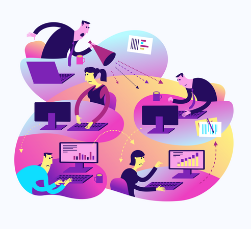 Flat Design Illustration For Presentation, Web, Landing Page: Office Life, Employees And Strict Boss Illustration