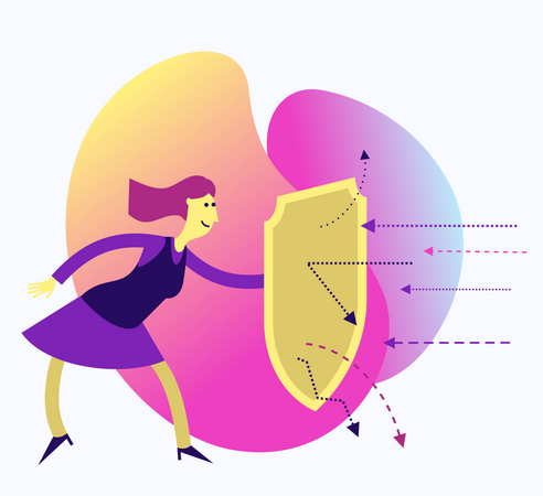 Flat Design Illustration For Presentation, Web, Landing Page: Woman With A Shield Protects From Attack Illustration