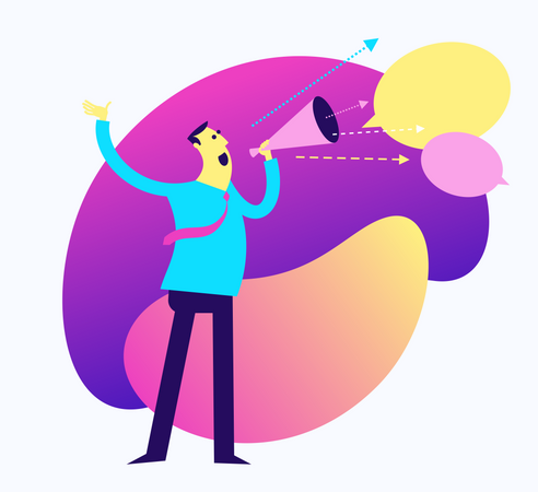 Flat Design Illustration For The Presentation, Web, Landing Page: A Man Speaks Loudly Into The Mouthpiece Illustration