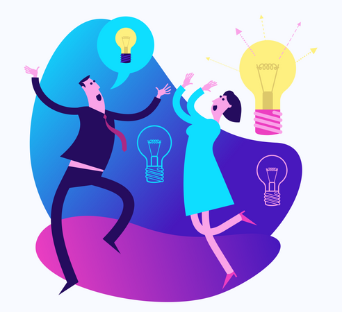 Flat Design Illustration For The Presentation, Web, Landing Page: Happy Man And Woman Rejoice At The Brilliant Idea Illustration