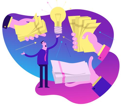Flat Design Illustration: Investing in the Idea Illustration