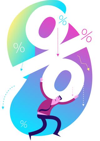 Flat Design Illustration: Man with interest rate Illustration