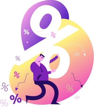 Flat Design Illustration: Man with loan pressure Illustration