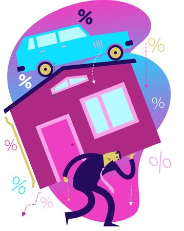 Flat Design Illustration: The Man Bears Heavy Expenses on the House, the Car Illustration