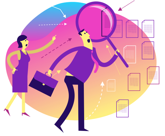 Flat Design Illustration: Woman and Man with Loupe looking for something Illustration