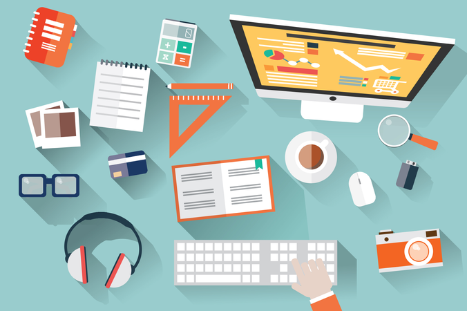 Flat design objects, work desk, long shadow, office desk, computer and stationery Illustration