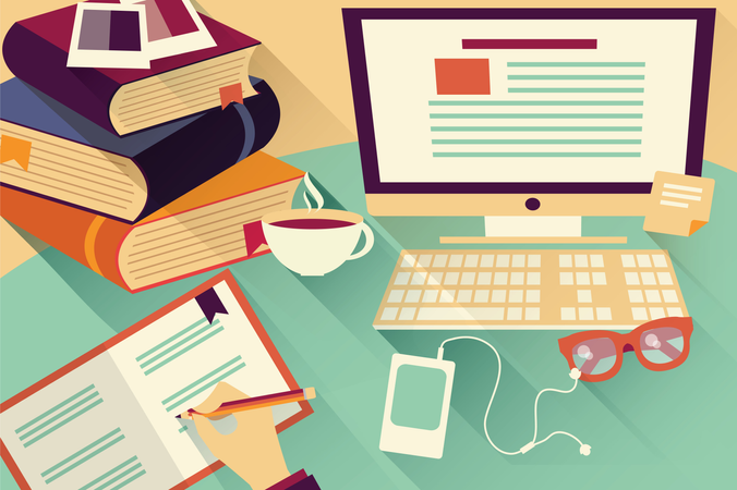 Flat design objects, work desk, office desk, books, computer and stationery Illustration