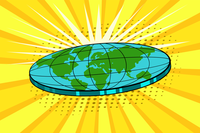 Flat earth with nature landscape. Globe in form of disk. Cosmology and pseudoscience, old science and flat-earthers, conspiracy theme. Vector bright background in pop art retro comic style Illustration